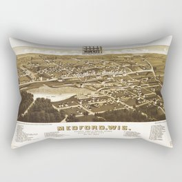 Aerial View of Medford, Wisconsin (1885) Rectangular Pillow