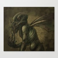 cthulhu Canvas Prints featuring Cthulhu by Aortic Inkwell
