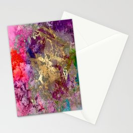Galaxy, abstract, fire+ice gold accent Stationery Cards