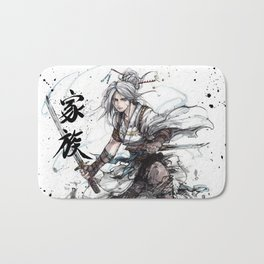 Samurai Girl with Japanese Calligraphy - Family - Ciri Parody Bath Mat