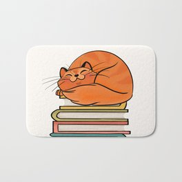 With Books And Cats Life Is Sweet Bath Mat