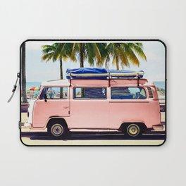 Pink Combi Van, Retro Camper Art Print By Synplus Laptop Sleeve