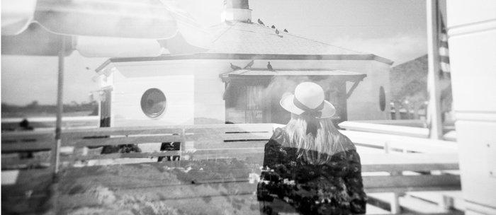 """The Lady of Malibu"" Black and White Holga photo Coffee Mug"
