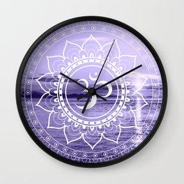 Water Om Mandala Lavender Wall Clock