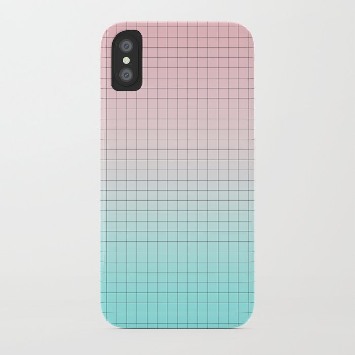 Millennial Pink and Light Blue Geometry iPhone Case
