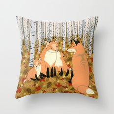 Fox family in the autumn forest Throw Pillow