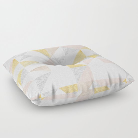 Gold, Pink and Marble Geo Pattern Floor Pillow by BlueBanana Society6