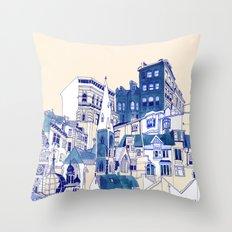 Blue Buildings Throw Pillow