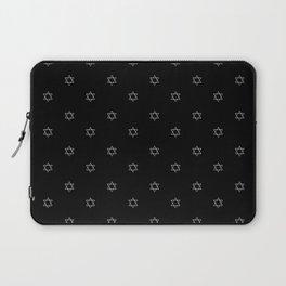 Silver Stars of David on a Black Background Laptop Sleeve