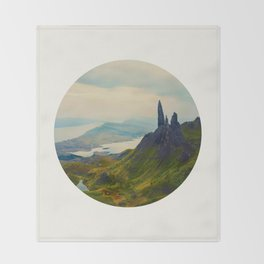 Mid Century Modern Round Circle Photo Magical Landscape Volcanic Mountains Rolling Green Hills Throw Blanket