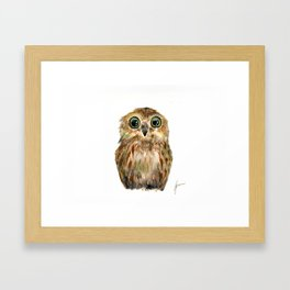 watercolor painting owl Framed Art Print