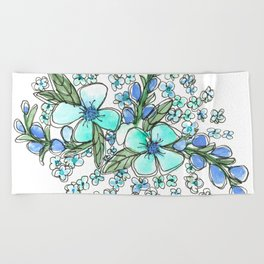 Blue Forget Me Not Floral Watercolor Beach Towel