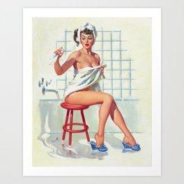 Pin Up Girl in White Bathroom Art Print