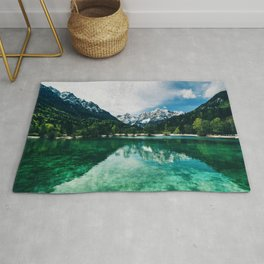 Reflective Lake Clear Mountains Rug