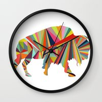 buffalo Wall Clocks featuring Buffalo by Alex Dehoff