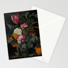 """Maria van Oosterwijck """"Roses, a parrot tulip, carnations, ears of wheat, hyacinths and other flowers Stationery Cards"""