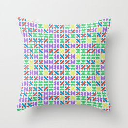 Colored Swirl Line Pieces Throw Pillow