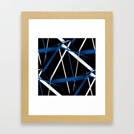 Seamless Blue and White Stripes on A Black Background Framed Art Print
