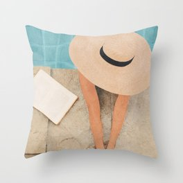 On the edge of the Pool II Throw Pillow