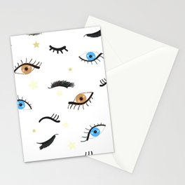 Beauty Eyes and Eye Lashes Pattern Stationery Cards