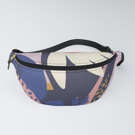Bold Beautiful Graphic Floral Tropical Pik Blue Plant Pattern Colorful Color Block Style Floral King Fanny Pack