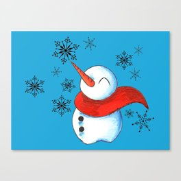 Snowmen and Snowflakes Canvas Print