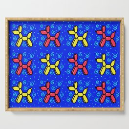 Balloon Dogs: Red and Yellow on Blue Serving Tray