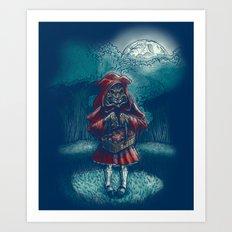 Big Bad Little Red Riding Wolf Hood Art Print