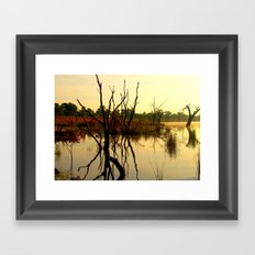 Light & Reflections over a Golden Lake Framed Art Print