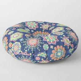 Folky Flora-blue Floor Pillow