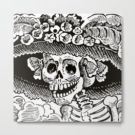 Calavera Catrina | Black and White Metal Print