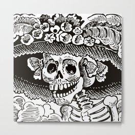 Calavera Catrina | Skeleton Woman | Black and White | Metal Print