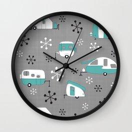 Aqua Campers on charcoal Wall Clock