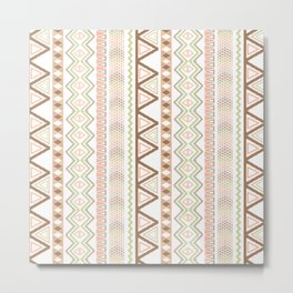Aztec Andes Pattern Pink Brown Abstract Geometric Metal Print