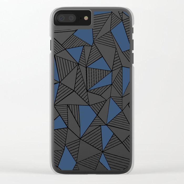 Abstraction Lines with Navy Blocks Clear iPhone Case