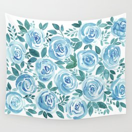 Pale blue roses . Watercolor . Wall Tapestry
