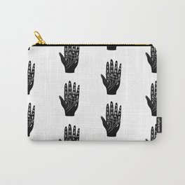 Linocut Hand palm reading minimal black and white palmistry fortune teller Carry-All Pouch