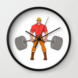 Buffed Lumberjack Lifting Weights Cartoon Wall Clock