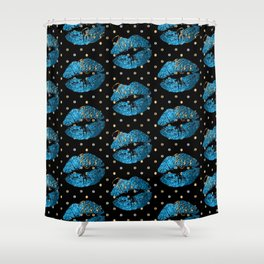 Blue Turquoise Glitter Lip Pattern Shower Curtain