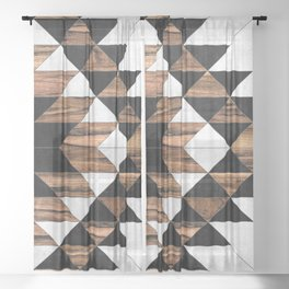 Urban Tribal Pattern No.9 - Aztec - Concrete and Wood Sheer Curtain
