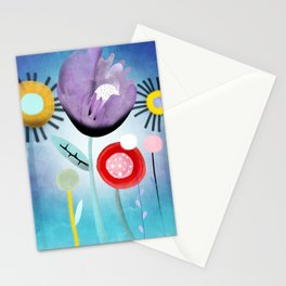 Blue Ombre Floral Art Stationery Cards