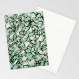 Spring Green & Rose Gold Marble Texture Stationery Cards