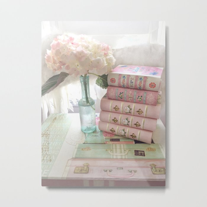 Shabby Chic Cottage Pink Aqua Hydrangea Books Print Home Decor Metal Print