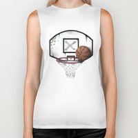 basketball Biker Tanks featuring basketball by Penfishh
