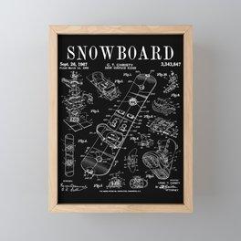 Snowboard Winter Snowboarding Vintage Patent Drawing Print Framed Mini Art Print