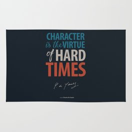 De Gaulle on Difficulties and Hard Times - Poster Illustration for inspiration and motivation Rug