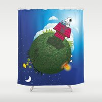 peanuts Shower Curtains featuring Green Peanuts World by SlyApparel