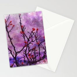 Dark Branches With Red Buds Watercolor Stationery Cards