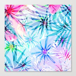 Flashy Colorful Tropical Flowers Design Canvas Print