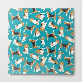 beagle scatter blue Metal Print